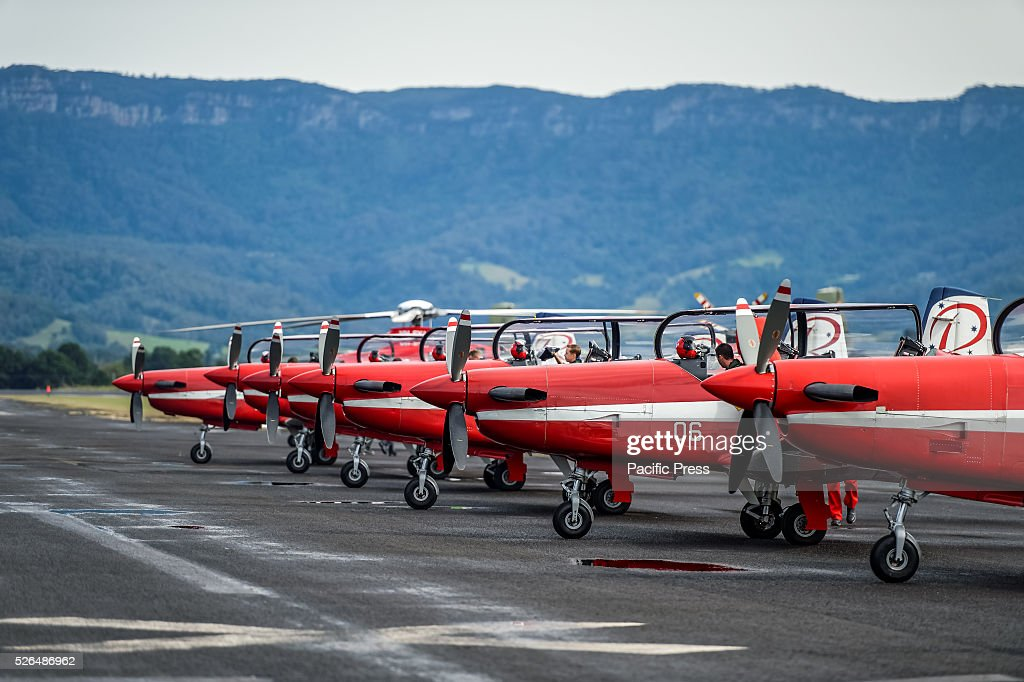 The Royal Australian Air Force Roulettes lead by Squadron Leader Daniel Kehoe prepare for their first air display at the annual 'Wings Over Illawarra' Airshow at the Illawarra Regional Airport.