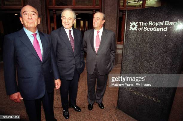 The Royal Bank of Scotland Chairman Viscount Younger of Leckie the joint chairmen of Banco Santander Central Hispano Jose Marie Amusategui and Don...
