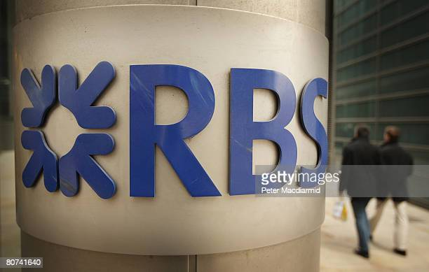 The Royal Bank of Scotland name and logo are displayed at its London headquarters on April 18 2008 in London England RBS is set to ask investors for...