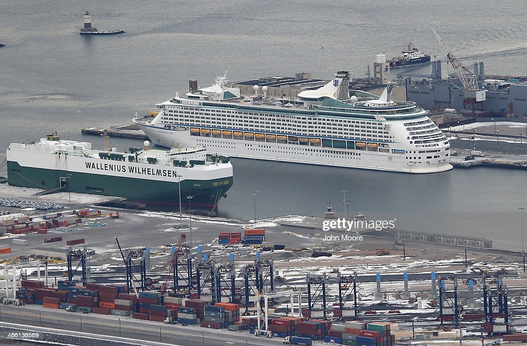 The Royal Caribbean cruise ship 'Explorer of the Seas' sits in port after more than 600 people became sick during a cruise on January 31, 2014 in Bayonne, New Jersey. The stomach sickness broke out three days into a scheduled 10-day tour.