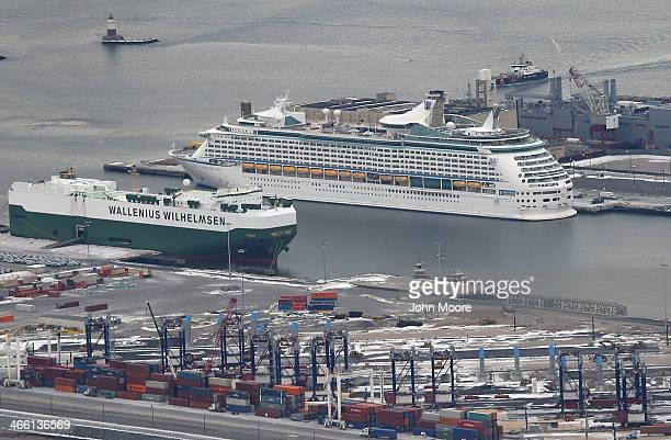 The Royal Caribbean cruise ship 'Explorer of the Seas' sits in port after more than 600 people became sick during a cruise on January 31 2014 in...