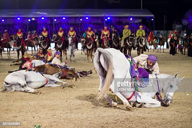 The Royal Cavalry of Oman perform for The Queen during the final night of The Queen's 90th Birthday Celebrations at the Royal Windsor Horseshow in...