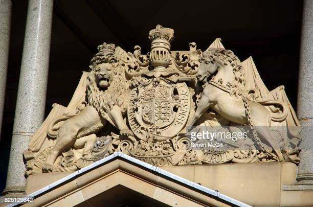 The royal coat of arms of the United Kingdom on Customs House, Circular Quay, Sydney, New South Wales, Australia