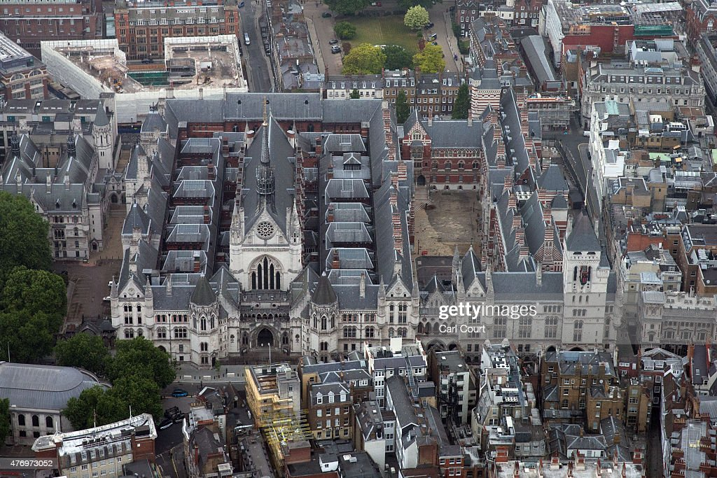 The Royal Courts of Justice are pictured from a helicopter on June 13 2015 in London England