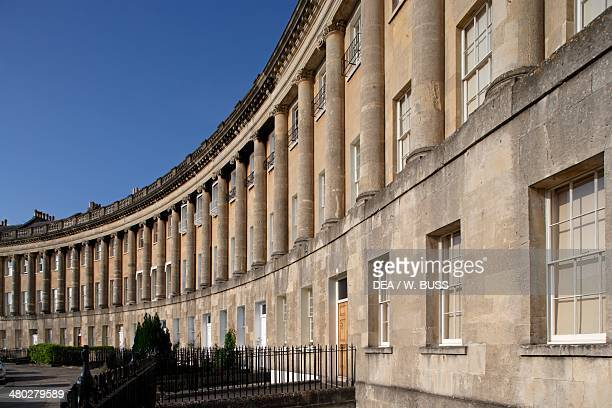 The Royal Crescent a street with 30 terraced houses in a cresent Bath Somerset United Kingdom