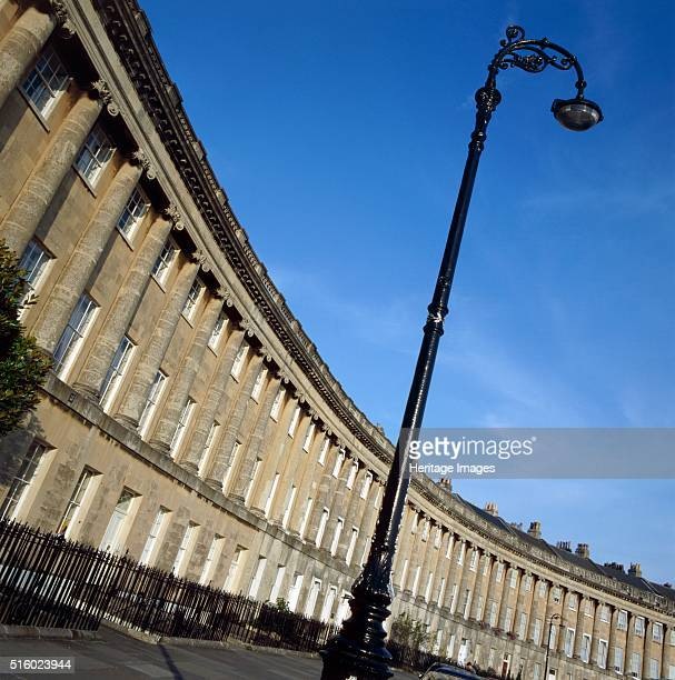 The Royal Crescent Bath Somerset c2000s An oblique view of the Crescent showing its curvature with an ornate street lamp in the foreground Designed...