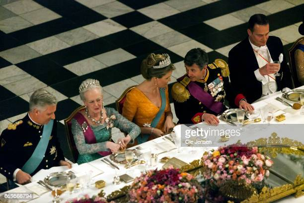 The royal Danish and royal Belgian family during the State Dinner at Christiansborg on March 28 2017 in Copenhagen Denmark The royal Belgian couple...
