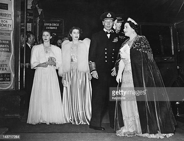 The royal family arrive at the London Palladium for the Royal Variety Performance 5th November 1946 Left to right Princess Margaret Princess...