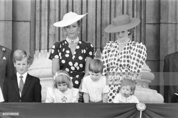 The Royal Family assemble on the balcony of Buckingham Palace for The Trooping of the Colour ceremony Princess Diana smiles at her children enjoying...