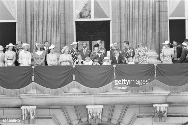 The Royal Family assemble on the balcony of Buckingham Palace for The Trooping of the Colour ceremony Princess Diana right of centre in the spotted...