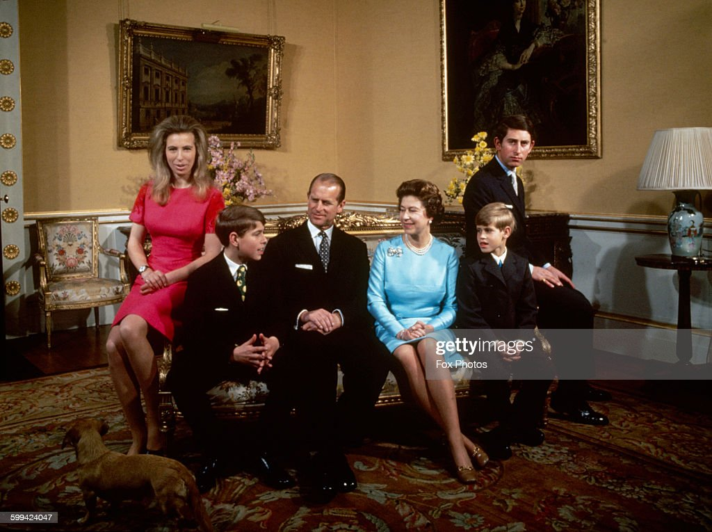 The royal family at Buckingham Palace, London, 1972. Left to right: <a gi-track='captionPersonalityLinkClicked' href=/galleries/search?phrase=Princess+Anne+-+Princess+Royal&family=editorial&specificpeople=11706204 ng-click='$event.stopPropagation()'>Princess Anne</a>, <a gi-track='captionPersonalityLinkClicked' href=/galleries/search?phrase=Prince+Andrew+-+Duke+of+York&family=editorial&specificpeople=160175 ng-click='$event.stopPropagation()'>Prince Andrew</a>, <a gi-track='captionPersonalityLinkClicked' href=/galleries/search?phrase=Prince+Philip&family=editorial&specificpeople=92394 ng-click='$event.stopPropagation()'>Prince Philip</a>, Queen Elizabeth, <a gi-track='captionPersonalityLinkClicked' href=/galleries/search?phrase=Prince+Edward+-+Earl+of+Wessex&family=editorial&specificpeople=160185 ng-click='$event.stopPropagation()'>Prince Edward</a> and <a gi-track='captionPersonalityLinkClicked' href=/galleries/search?phrase=Prince+Charles+-+Prince+of+Wales&family=editorial&specificpeople=160180 ng-click='$event.stopPropagation()'>Prince Charles</a>. (Photo by Fox Photos/Hulton Archive/Getty Images)<a gi-track='captionPersonalityLinkClicked' href=/galleries/search?phrase=Elizabeth+II&family=editorial&specificpeople=67226 ng-click='$event.stopPropagation()'>Elizabeth II</a>