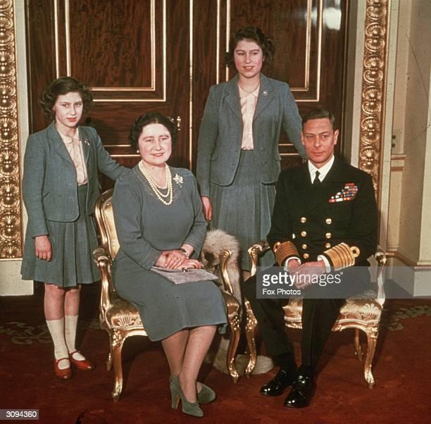The Royal family at Buckingham Palace LR Princess Margaret Queen Elizabeth Princess Elizabeth and King George VI