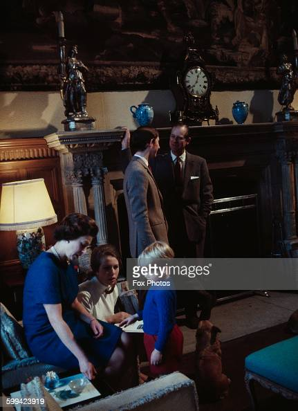 The royal family at Windsor Castle 1969 Left to right Queen Elizabeth Princess Anne Prince Edward Prince Charles and Prince Philip
