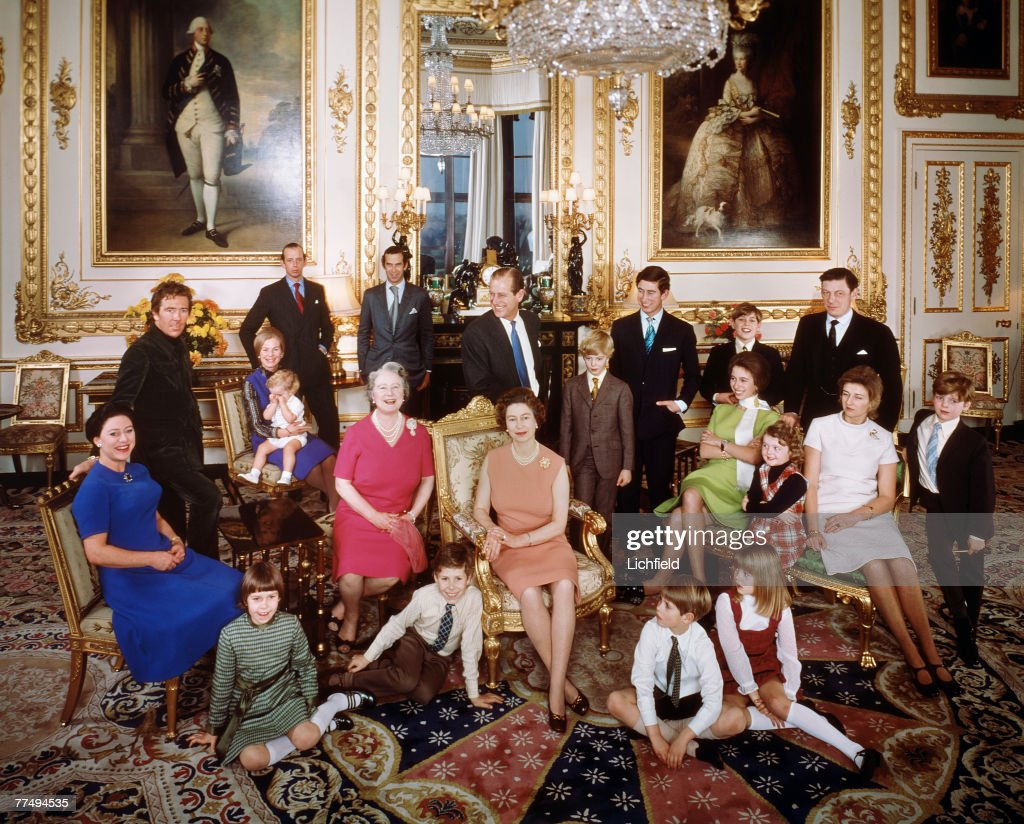 The Royal Family at Windsor Castle on 26th December 1971. Back row (left to right) The Earl of Snowdon, HRH The Duchess of Kent with Lord Nicholas Windsor, HRH The Duke of Kent, HRH Prince Michael of Kent, HRH The Duke of Edinburgh, HRH The Prince of Wales, HRH The Prince Andrew, The Hon Angus Ogilvy, centre row (left to right) HRH The Princess Margaret, HM The Queen, The Earl of St Andrews, HRH The Princess Anne, Miss Marina Ogilvy, HRH Princess Alexandra, Mr James Ogilvy, front row (left to right) Lady Sarah Armstrong-Jones, Viscount Linley, HRH The Prince Edward, Lady Helen Windsor. (Photo by Lichfield/Getty Images).