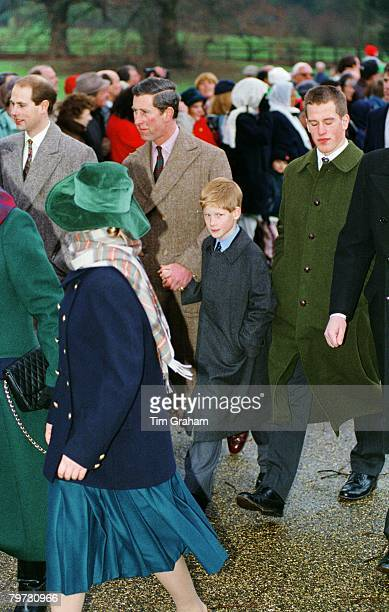 The Royal Family attending Christmas Day Service at Sandringham From left to right Prince Edward Earl of Wessex Prince Charles Prince of Wales Prince...
