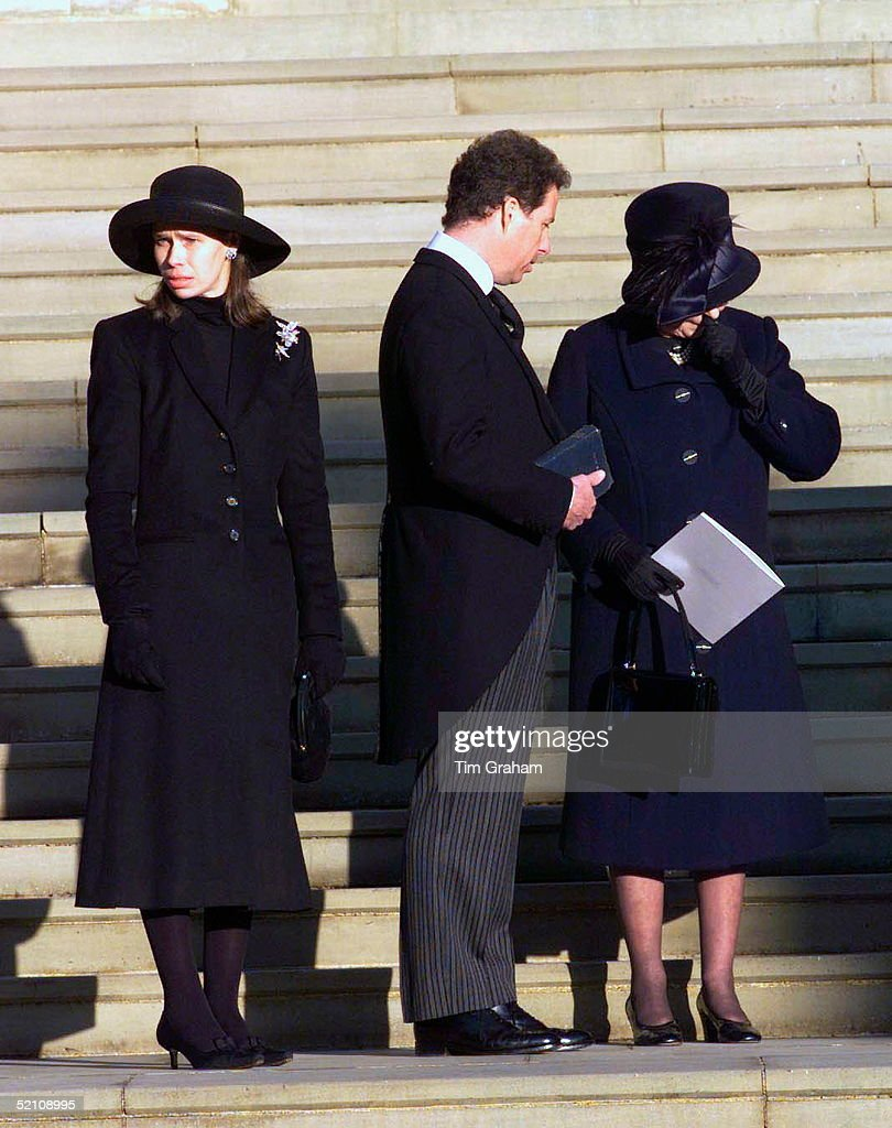 The Royal Family Attending The Funeral Of Princess Margaret At St. George's Chapel In Windsor Castle. Queen Elizabeth II Gives Way To Her Grief And Is Seen Crying As She Stands With Princess Margaret's Children Lady Sarah Chatto And Lord Linley (viscount David Linley).