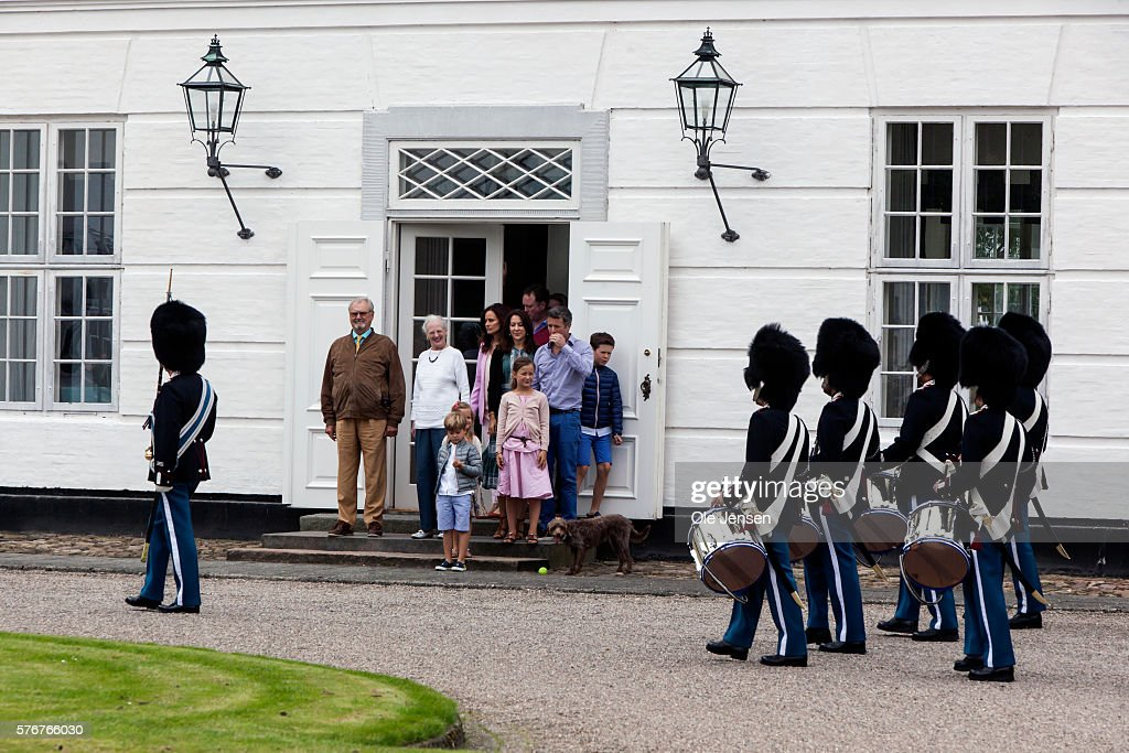 The royal family attends Changing of the Guard during their first day at the summer residence, Graasten Slot (read: Graasten Castle) in Graasten, Denmark, on July 15, 2016.