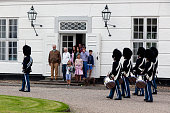 The royal family attends Changing of the Guard during their first day at the summer residence Graasten Slot in Graasten Denmark on July 15 2016