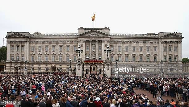 The royal family gather on the balcony at Buckingham Palace as the public look on during the Trooping the Colour on June 13 2015 in London England...