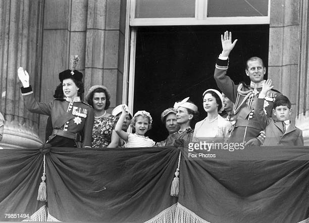 The royal family gathers on the balcony of Buckingham Palace to watch the Trooping the Colour ceremony on the Queen's official birthday 13th June...