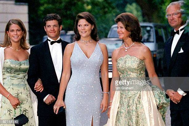 The Royal Family Of Sweden King Carl Gustaf Queen Silvia Princess Victoria Prince Carl Philip And Princess Madeleine At Bridgewater House For A Party...