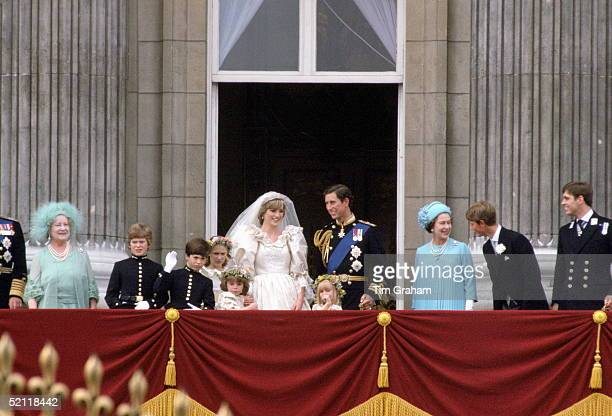The Royal Family On The Balcony Of Buckingham Palace To Celebrate The Wedding Of Prince Charles And Diana Princess Of Wales Left To Right Queen...