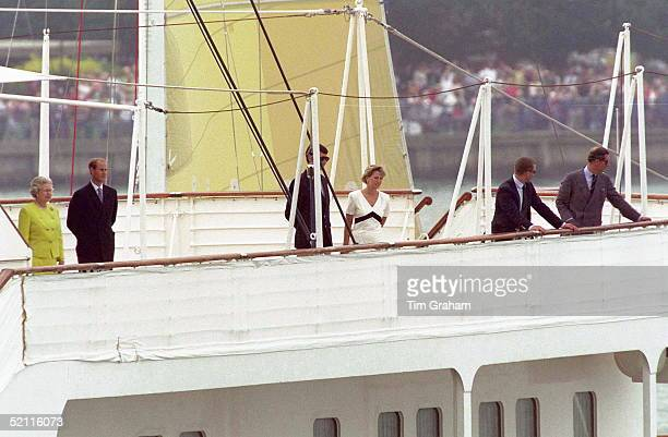 The Royal Family On The Royal Yacht Britannia At The Start Of Their Traditional Cruise Around The Western Isles Of Scotland Left To Right Queen...