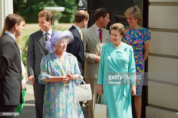 The Royal Family standing outside Clarence House on the 89th Birthday of the Queen Mother including Prince Andrew the Duke of York Queen Elizabeth II...