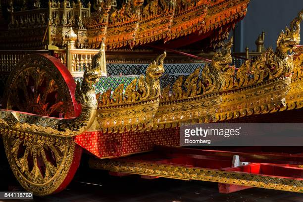 The royal funeral chariot for the cremation ceremony of King Bhumibol Adulyadej stands at the Bangkok National Museum in Bangkok Thailand on Friday...