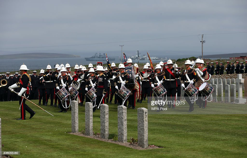 The Royal Marines Band Service take part in a service at Lyness Cemetery during the 100th anniversary commemorations for the Battle of Jutland on May 31, 2016 in Hoy, Scotland. The event marks the centenary of the largest naval battle of World War One where more than 6,000 Britons and 2,500 Germans died in the Battle of Jutland fought near the coast of Denmark on 31 May and 1 June 1916.