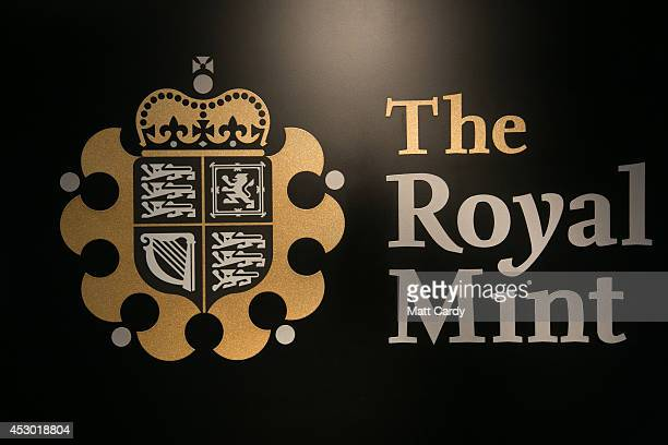 The Royal Mint logo is seen at the plant on August 1 2014 in Llantrisant Wales