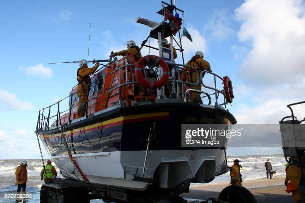 The Royal National Lifeboat Insitute Lifeboat 'Lil Cunningham' sits on a wheeled radle prior to launcing on a mandatory monthly training excercise...