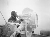 The Royal Navy During The Second World War Ice forming on a 20inch signal projector on the cruiser HMS SHEFFIELD whilst she is helping to escort an...