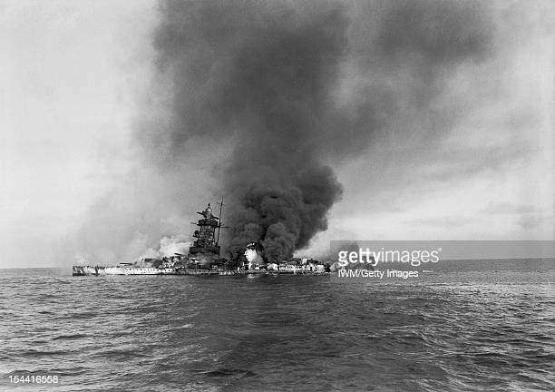 The Royal Navy During The Second World War The German pocket battleship ADMIRAL GRAF SPEE in flames after being scuttled off Montevideo Uruguay after...