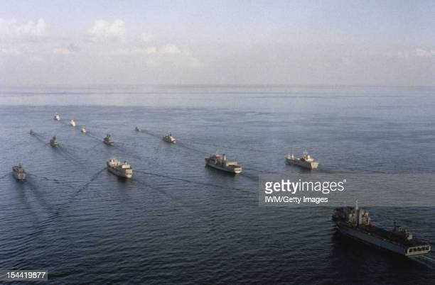 The Royal Navy In The Gulf War 199091 Aerial view of the enlarged Armilla Patrol Group XLed by the Commander Task Unit's flagship the Type 22 Batch...