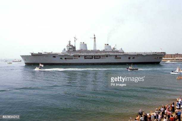 The Royal Navy's newest warship HMS Illustrious sailed today for the Falklands to take over duties in the south atlantic from sister HMS Invincible...
