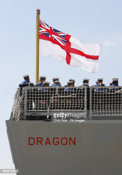 The Royal Navy's newest warship the Type 45 Destroyer HMS Dragon as she is handed over to the Royal Navy from the builders BAE Systems in Portsmouth