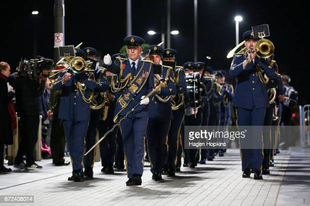 The Royal New Zealand Air Force Band plays during Anzac Day dawn service at Pukeahu National War Memorial Park on April 25 2017 in Wellington New...