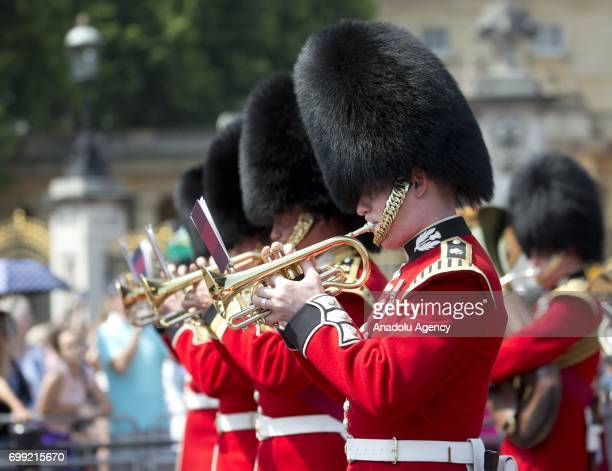 The Royal Palace guard marching band outside Buckingham Palace ahead of the departure of Britain's Queen Elizabeth II to the Houses of Parliament to...