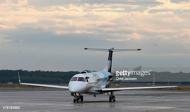 The Royal Plane carrying Queen Elizabeth II and Prince Philip Duke of Edinburgh arrive at Berlin Tegel Airport for a four day State Visit on June 23...