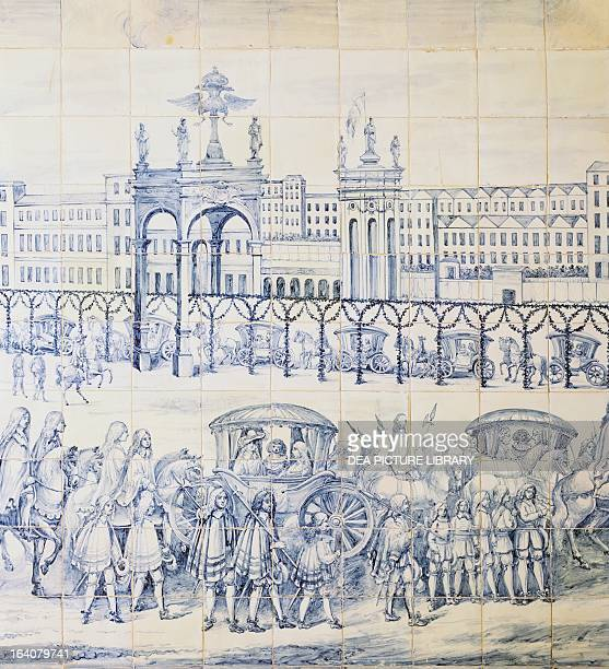 The royal procession for Queen Catherine of Braganza's marriage to Charles II King of England tile Italian Embassy in Lisbon Portugal 17th century