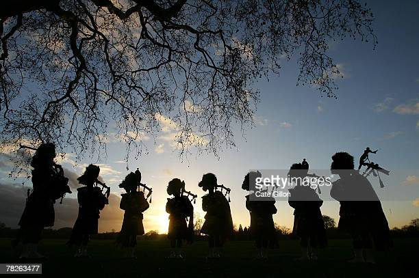 The Royal Scots Dragoon Guards Pipe Band pose in Hyde Park on December 5 2007 in London The pipers are celebrating their success after their album...