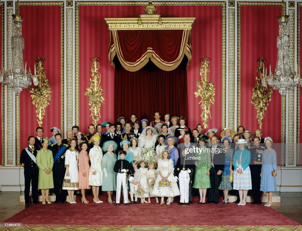 The Royal Wedding Group in the Throne Room at Buckingham Palace on 29th July 1981 with the bride and groom, TRH The Prince and The Princess of Wales, in the centre. Front row (left to right) Mr Edward van Cutsem, The Earl of Ulster, Miss Catherine Cameron, Miss Clementine Hambro, Miss Sarah-Jane Gaselee, Lord Nicholas Windsor. Second row (left to right) King Carl Gustav and Queen Silvia of Sweden, King Baudouin and Queen Fabiola of Belgium, HRH The Princess Margaret, HRH The Princess Anne, HM Queen Elizabeth The Queen Mother, HM The Queen, Miss India Hicks, Lady Sarah Armstrong-Jones, The Hon Mrs Frances Shand Kydd, The Earl Spencer, Lady Sarah McCorquodale, Mr Neil McCorquodale, Queen Beatrix of the Netherlands, Lady Helen Windsor, Grand Duke Jean and Grand Duchess Josephine-Charlotte of Luxembourg. Third Row (left to right) Prince Henrik of Denmark, Queen Margrethe of Denmark, King Olav of Norway, Mr James Ogilvy and Miss Marina Ogilvy, Captain Mark Phillips, The Hon Angus Ogilvy, HRH Princess Alexandra, HRH The Prince Andrew, Viscount Linley, The Duchess of Gloucester, HRH The Duke of Edinburgh, HRH The Duke of Gloucester, HRH The Prince Edward, HRH Princess Alice, Duchess of Gloucester, HRH The Princess of Wales, HRH The Duke of Kent (behind Lady Fermoy), The Earl of St Andrews (behind HRH The Prince of Wales), HRH The Duchess of Kent, Lady Jane Fellowes, (behind her, Viscount Althorp), Mr Robert Fellowes, HRH Prince Michael of Kent, HRH Princess Michael of Kent, Princess Grace of Monaco, Prince Albert, hereditary Prince of Monaco, (immediately below him, Prince Claus of the Netherlands, Princess Gina and Prince Franz Josef of Liechtenstein. (Photo by Lichfield/Getty Images).