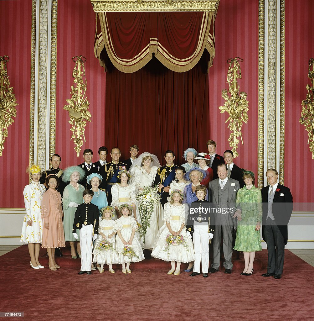 The Royal Wedding Group in the Throne Room at Buckingham Palace on 29th July 1981 with the bride and groom, TRH The Prince and The Princess of Wales, in the centre. Front row (left to right) Mr Edward van Cutsem, Miss Clementine Hambro, Miss Catherine Cameron, Miss Sarah-Jane Gaselee, Lord Nicholas Windsor. Second row (left to right) HRH The Princess Anne, HRH The Princess Margaret, HM Queen Elizabeth The Queen Mother, HM The Queen, Miss India Hicks, Lady Sarah Armstrong-Jones, The Hon Mrs Frances Shand Kydd, The Earl Spencer, Lady Sarah McCorquodale, Mr Neil McCorquodale. Third Row (left to right) Captain Mark Phillips, HRH The Prince Andrew, Viscount Linley, HRH The Duke of Edinburgh, HRH The Prince Edward, Lady Fermoy, Lady Jane Fellowes, Viscount Althorp, Mr Robert Fellowes. .