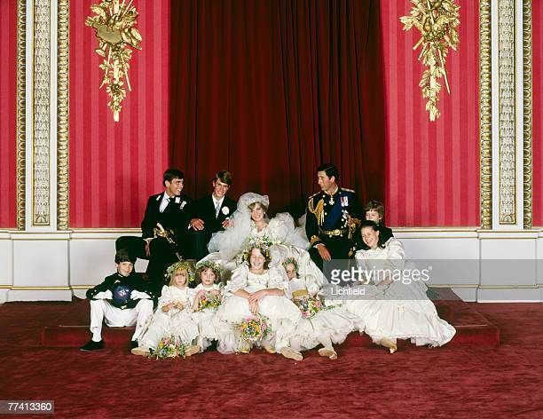 The Royal Wedding Group relaxed after the formal shots in the Throne Room at Buckingham Palace on 29th July 1981 with the bride and bridegroom TRH...