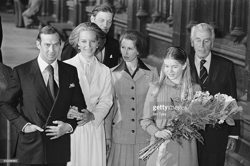 The royal wedding of Prince Michael of Kent and Baroness Christine von Reibnitz at the Town Hall in Vienna, 3rd July 1978. Guests, from left to right, Angus Ogilvy (behind the bride and groom), Princess Anne, Lady Helen Windsor the daughter of the Duke and Duchess of Kent, and Lord Mountbatten of Burma.
