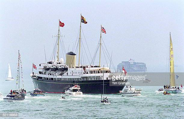 The Royal Yacht Britannia Leaving Portsmouth With The Royal Family On Board For Their Traditional Cruise Around The Western Isles Of Scotland