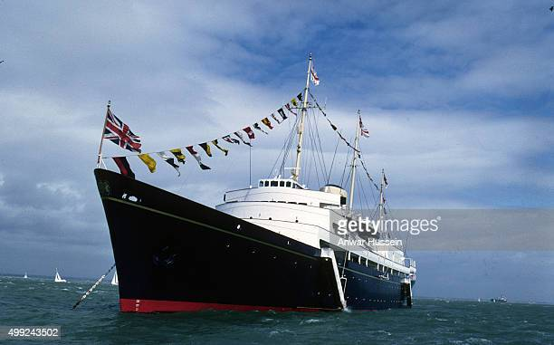 The Royal Yacht Britannia makes it last appearance at Cowes Regatta before being decommissioned on August 05 1996 in Cowes Isle of Wight