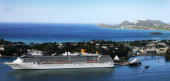 The Royal Yacht Leander is seen in Castries Harbour during a one day tour of Saint Lucia on March 7 2008 in Castries St Lucia The Royal Couple are on...