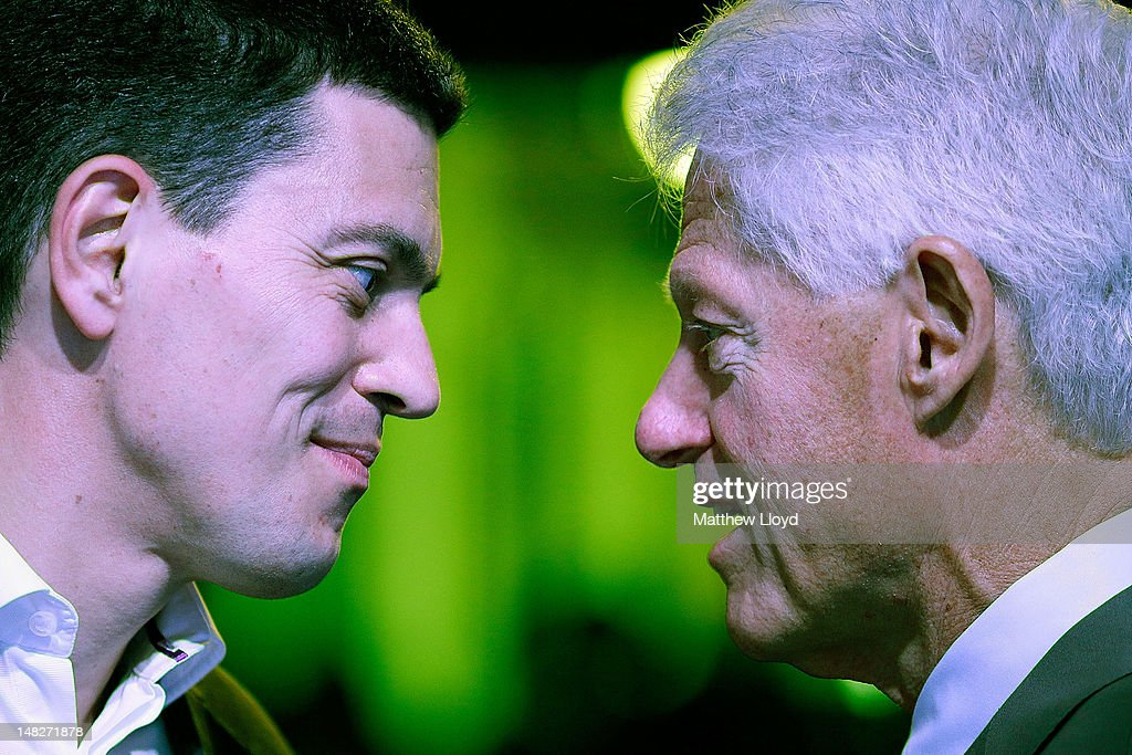 The Rt Hon. David Miliband, MP speaks with President Bill Clinton, founder of the William J.Clinton Foundation & 42nd President of the United States at the ReSource 2012 conference on July 13, 2012 in Oxford, England. President Clinton will today make the closing keynote speech at the ReSource 2012 conference, a 2 day ground-breaking forum on resource scarcity and volatility, dedicated to engaging the financial and business community on the issues of food, water, energy supply and global growth.